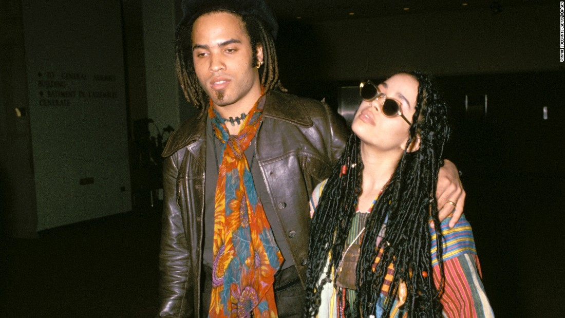 """Lenny Kravitz and former """"Cosby Show"""" star Lisa Bonet seemed tailor-made for each other, right down to their love of hippie style. The pair met at a New Edition concert in 1985 and married in 1987, welcoming daughter Zoe a year later. """"We were very young, and it was wonderful,"""" Kravitz recalled in 2013, 20 years after their marriage came to an end. Now, """"Zoe's mom and I are best friends,"""" Kravitz said. """"It's interesting because that's how the relationship started."""" Bonet is now married to actor Jason Momoa."""