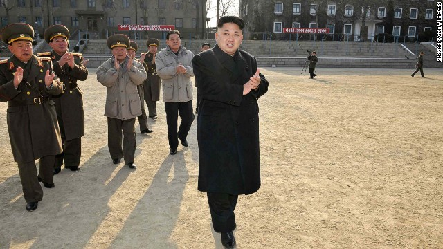 North Korean leader Kim Jong-Un inspects the command of the Korean People's Army.