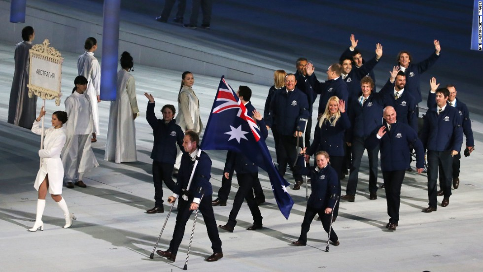 Australia enters the stadium led by skier and flag bearer Cameron Rahles-Rahbula.