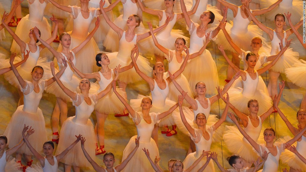 Ballerinas perform during the ceremony.