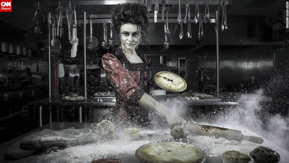 """Sweeney Todd"" -- Mrs. Lovett rolls out bloody meat pies in a cloud of flour."