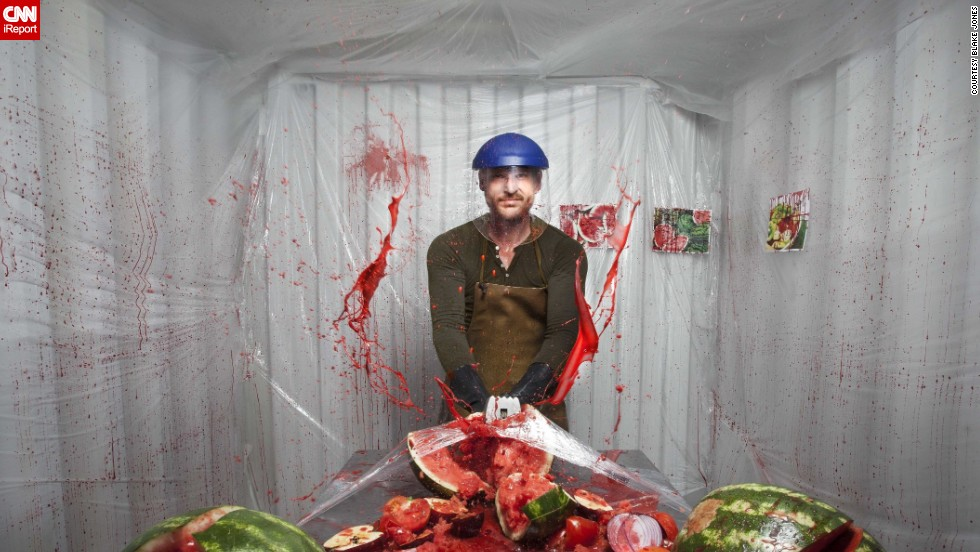 """Dexter"" -- Dexter Morgan, TV's lovable serial killer, is depicted hacking into a juicy watermelon."
