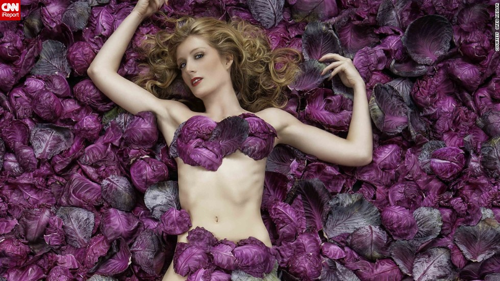 """American Beauty"" -- Cabbage leaves, instead of rose petals, were used to recreate this scene from the Academy Award-winning film."