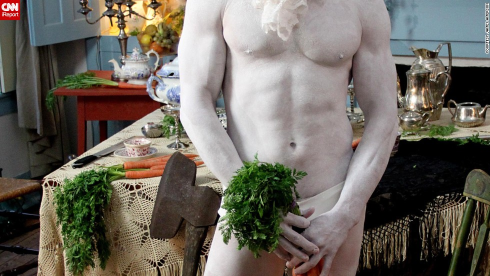 """Alice in Wonderland"" --The White Rabbit spared some time to pose with carrots for this provocative picture."
