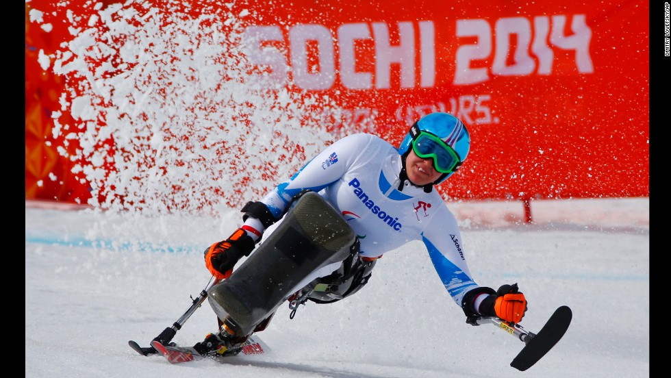 Austrian skier Claudia Loesch races in the women's downhill on Saturday, March 8.