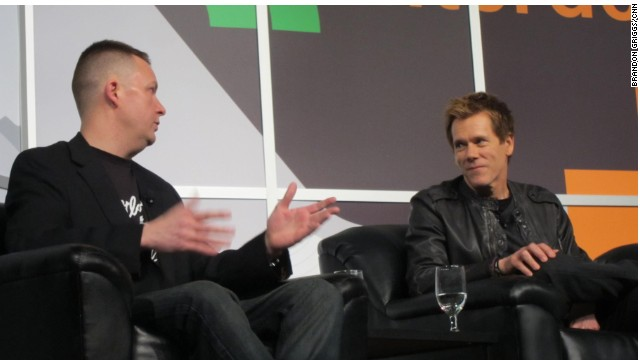 Actor Kevin Bacon, right, with Brian Turtle, co-creator of the 'Six Degrees of Kevin Bacon' game, Saturday at SXSW.