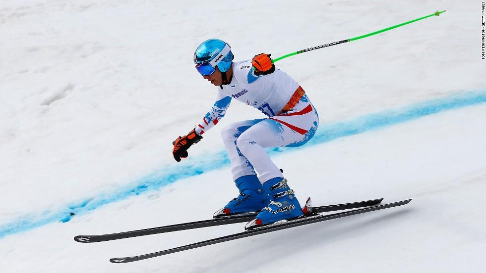 Austrian skier Markus Salcher won gold in the super-G on March 9.