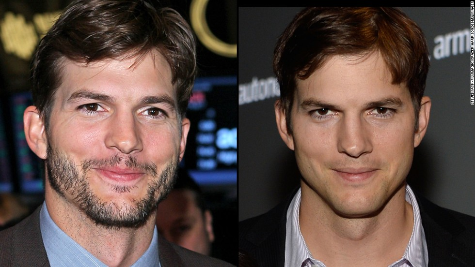 A bearded Ashton Kutcher rings the opening bell at the New York Stock Exchange in August 2013, but he is cleanshaven for a Human Rights Watch event three months later.