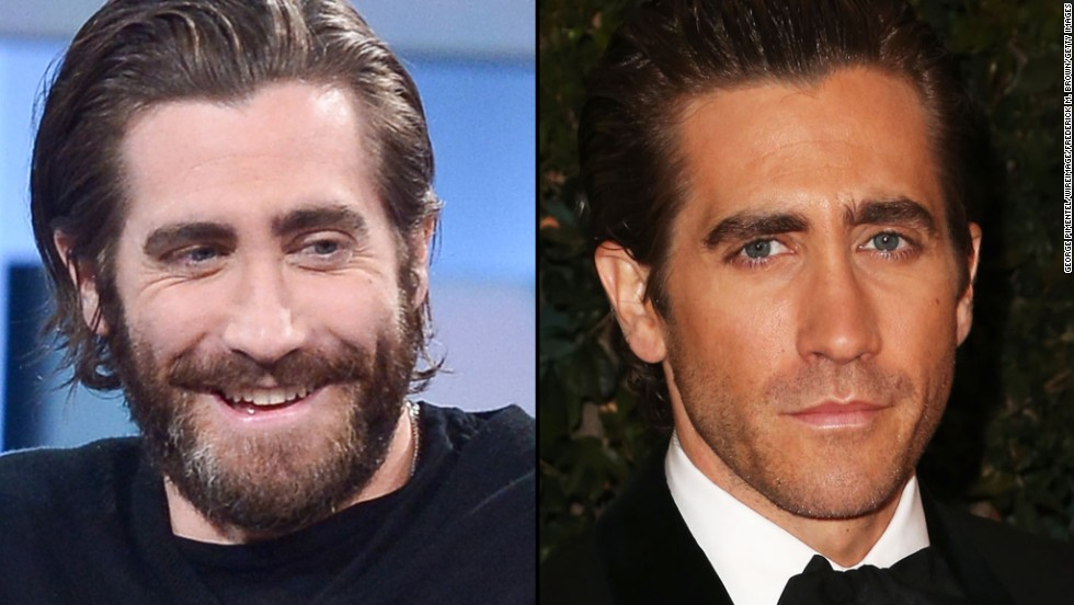 "Jake Gyllenhaal goes full ""Grizzly Adams"" on ""George Stroumboulopoulos Tonight"" in January. He wears a bit of 5 o'clock shadow at the Academy of Motion Picture Arts and Sciences' Governors Awards in November 2013."