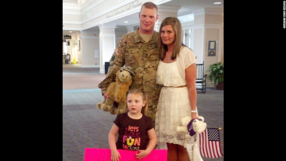 Misty surprised her husband at the airport when he returned from his deployment in May 2013. She had lost more than 100 pounds since his departure.