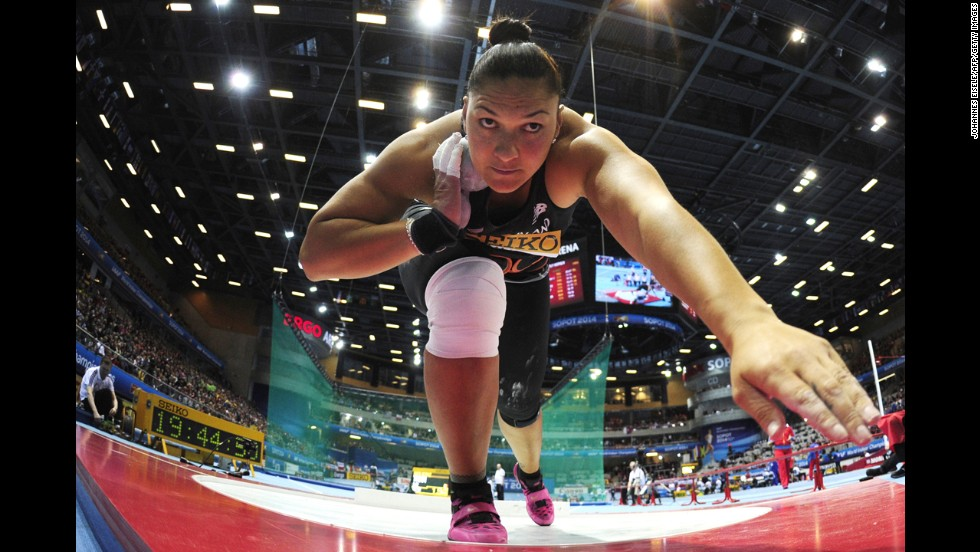 New Zealand's Valerie Adams prepares to throw the shot put Saturday, March 8, at the IAAF World Indoor Championships in Poland.