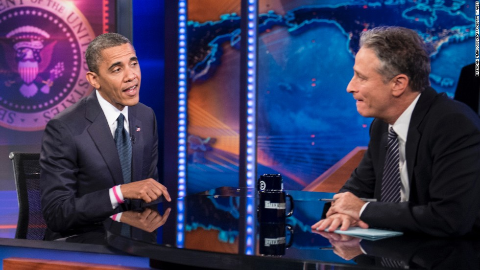 "Obama took a few jabs from the host over his lackluster first debate performance when he appeared on the ""Daily Show with Jon Stewart"" on October 18, 2012, a month before the election."