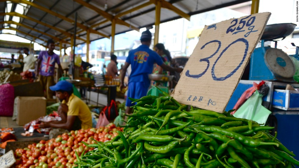Vegetables are among the hundreds of different wares up for grabs at Colombo's Pettah Market, one of the most important trading centers in the capital.
