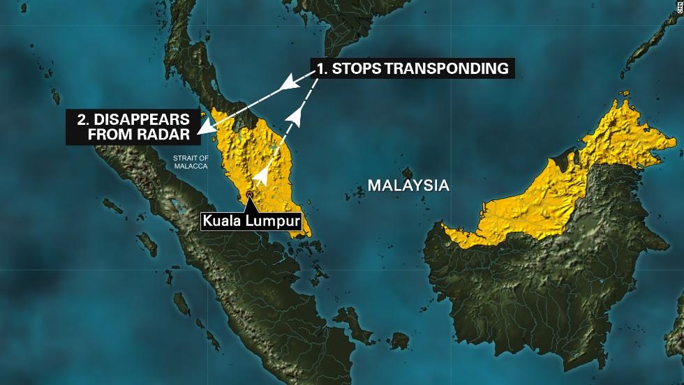 El presunto trayecto que habría tomado el vuelo de Malaysia Airlines, cuya última ubicación rastreada fue en Pulau Perak, una isla en el estrecho de Malaca, según la Fuerza Aérea de Malasia.