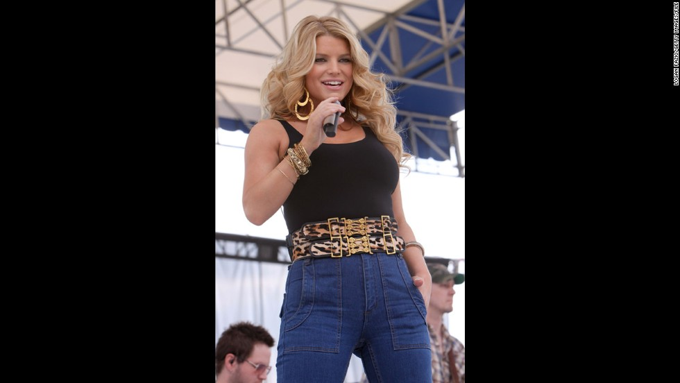 """In January 2009, Simpson performed at the 99.9 Kiss Country 24th annual Chili Cookoff in Pembroke Pines, Florida, in, wait for it ... high-waisted jeans. Oh, the horror. Celebrity tabloids went nuts, touting her """"mom jeans"""" as the fashion faux pas of the century."""