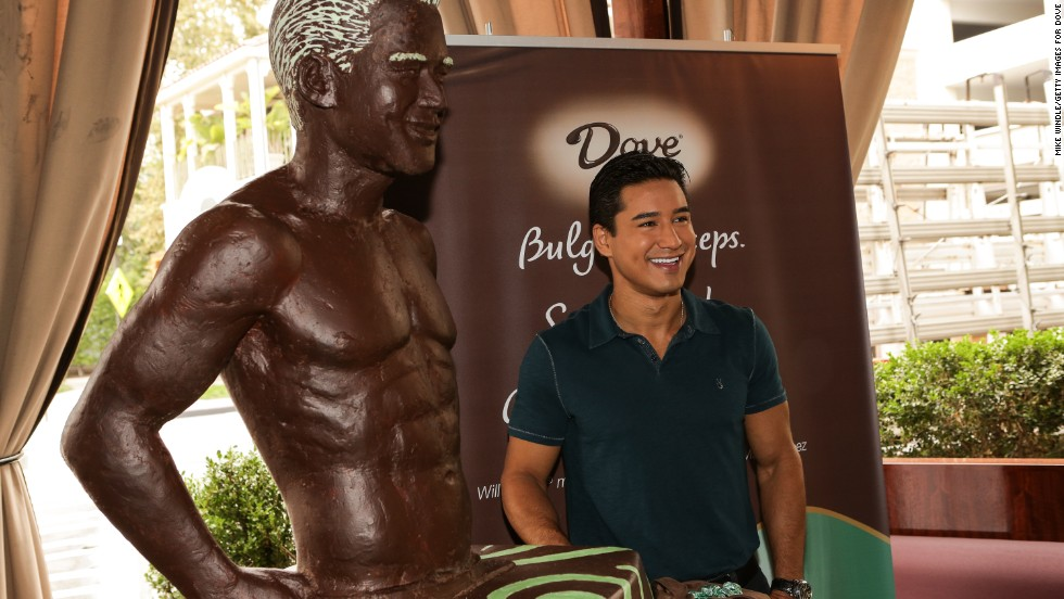 With only photographs to work with, the pastry chef at the Towers of the  Waldorf Astoria New York spent months putting together near life-size chocolate statue replicas of an Australian couple. When celebrity TV host and actor, Mario Lopez, was immortalized in a mint and dark chocolate statue (pictured), it was only from the waist up.