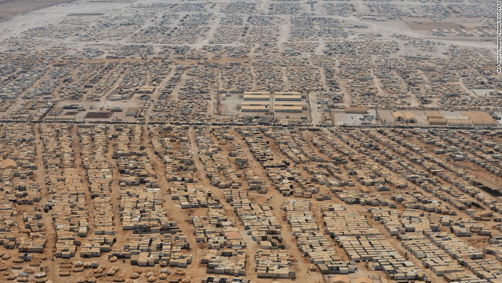 An aerial view shows the Zaatari refugee camp near Mafraq. The northern Zaatari refugee camp is home to more than 150,000 Syrians with more arriving every day.
