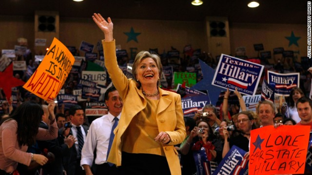 Then-Sen. Hillary Clinton campaigns in Dallas on March 1, 2008 ahead of the Texas primary.