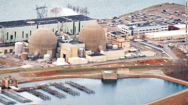 The North Anna, Virginia, #1 and #2 nuclear power generation stations operated by Dominion Virginia Power are seen in this aerial photo on March 24, 2011, at Lake Anna, Virginia. (PAUL J. RICHARDS/AFP/Getty Images)