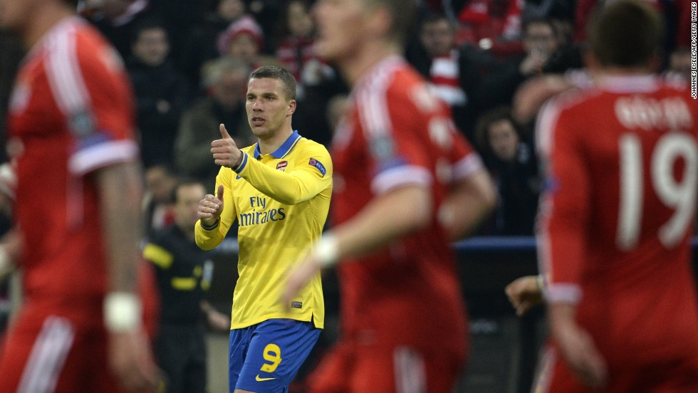 Lukas Podolski gave Arsenal a lifeline when his powerful effort beat Manuel Neuer in the Bayern goal with 33 minutes of the contest remaining but Arsenal could only secure a 1-1 draw on the night allowing the German side to progress 3-1 on aggregate.