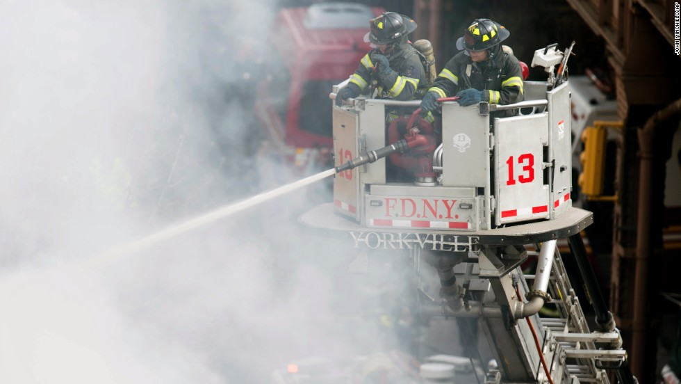 Firefighters respond to the fire.