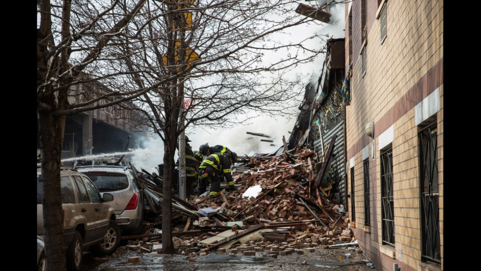 Rubble from the explosion spills onto Park Avenue.