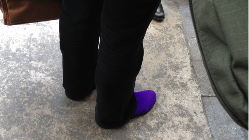 "Ken Olshansky: ""Don't step on Christiane's purple suede shoes."""