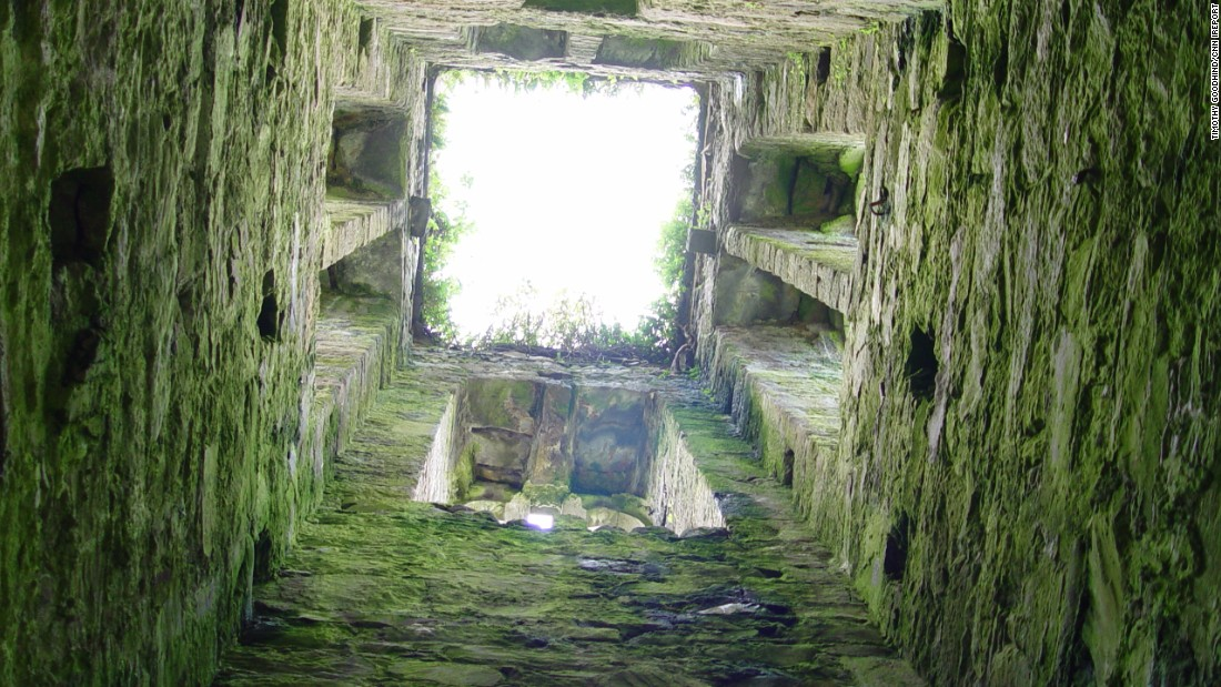 "This is a look upward through an old chapel in the ""Old Graveyard"" at Cloghane on the Dingle Peninsula in County Kerry."