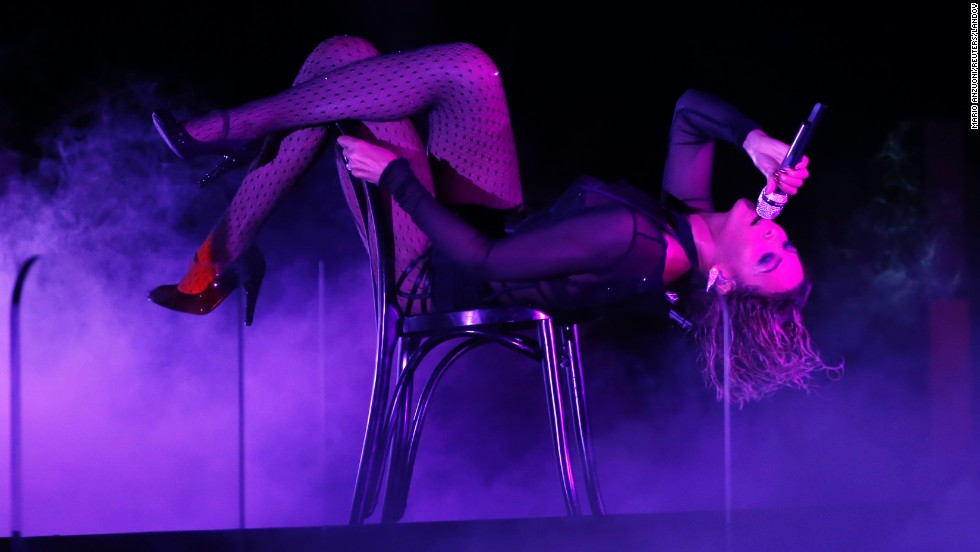 "Beyonce performs ""Drunk in Love"" at the 56th Annual Grammy Awards in Los Angeles in January 2014."