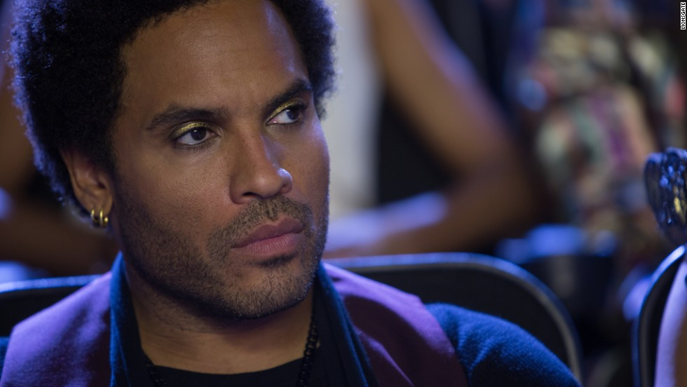 """""""Hunger Games"""" star and rocker Lenny Kravitz can still pull off the sparkling eye makeup. He celebrated his 50th on May 26."""