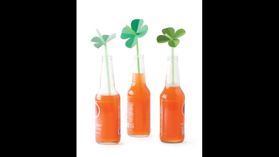 "Let your kids get a sip of Irish luck with four-leaf-clovers f<a href=""http://www.marthastewart.com/875748/shamrock-straw-toppers?czone=holiday%2Fspring-celebrations-cnt%2Fst-patricks-day&gallery=274735&slide=875748&center=307033?xsc=synd_cnn"" target=""_blank"">ashioned from green card stock</a>."