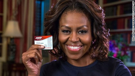 AARP Congratulates Michelle Obama on her 50th Birthday.  (PRNewsFoto/AARP, White House) THIS CONTENT IS PROVIDED BY PRNewsfoto and is for EDITORIAL USE ONLY**