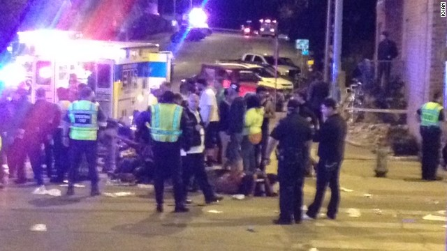A car hit several pedestrians in Austin, Texas, where SXSW activities were going on.