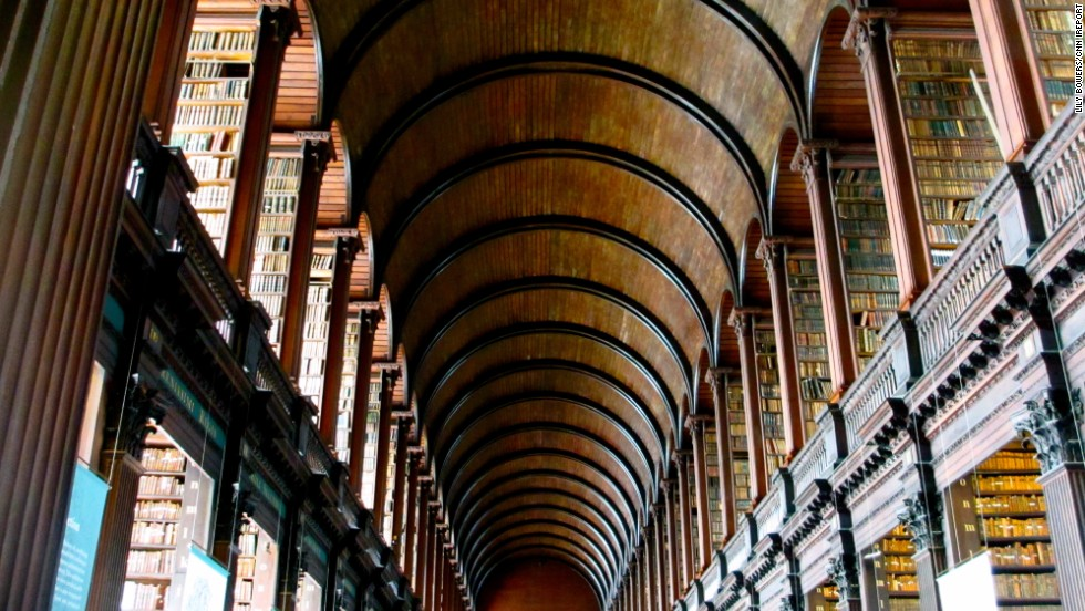 Trinity College Library in Dublin is the country's largest library. Founded in 1592 by Queen Elizabeth I of England and Ireland, Trinity College is Ireland's oldest university.