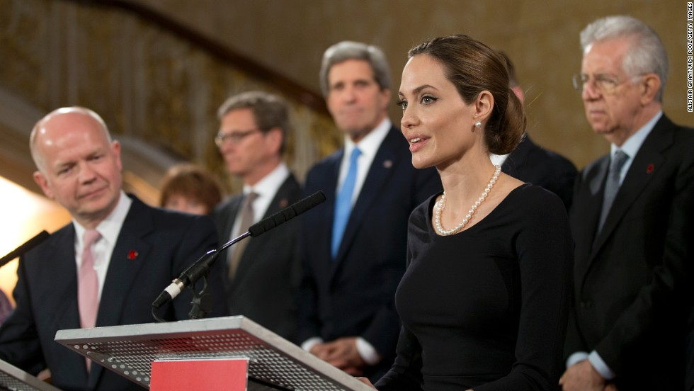 Jolie appears at an April 2013 news conference in London about sexual violence against women in conflict.