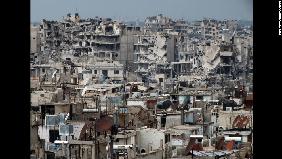 Buildings in Homs lay in ruins on March 9.