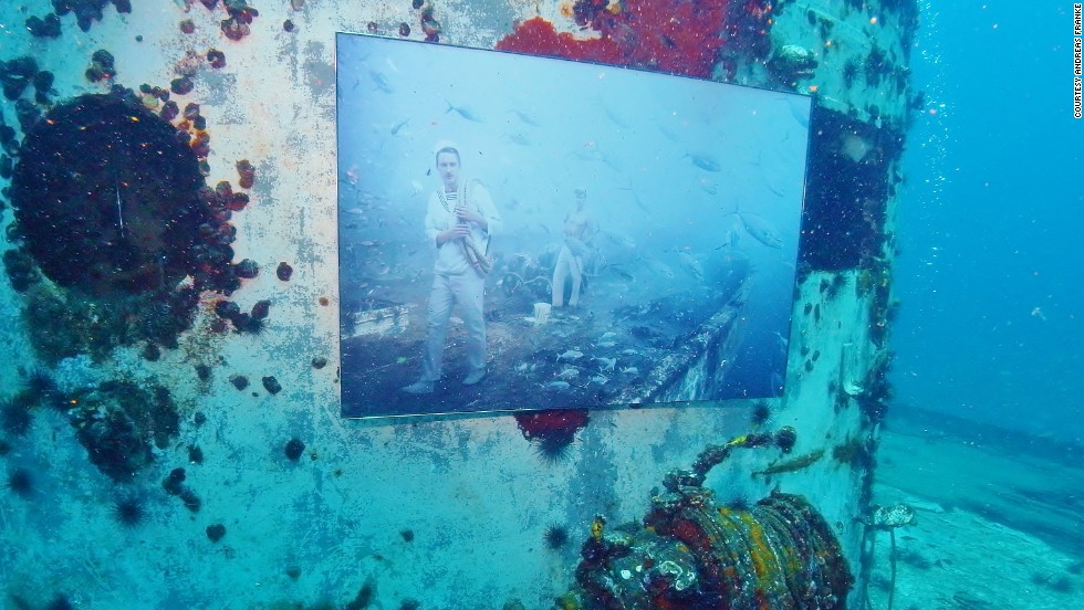 Last year, the World War II warship USS Mohawk, off Sanibel Island near Fort Myers, Florida, became yet another underwater art gallery for Franke's work.