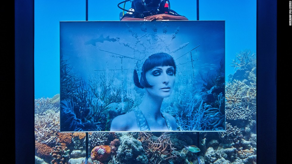 While divers visiting shipwrecks could swim around Franke's previous exhibits, visitors aren't allowed to dive among the artworks in the new display.