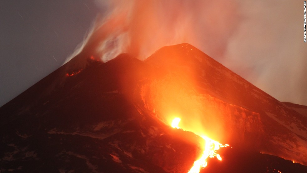 Lava streams down the side of Italy's Mount Etna on Thursday, March 13.