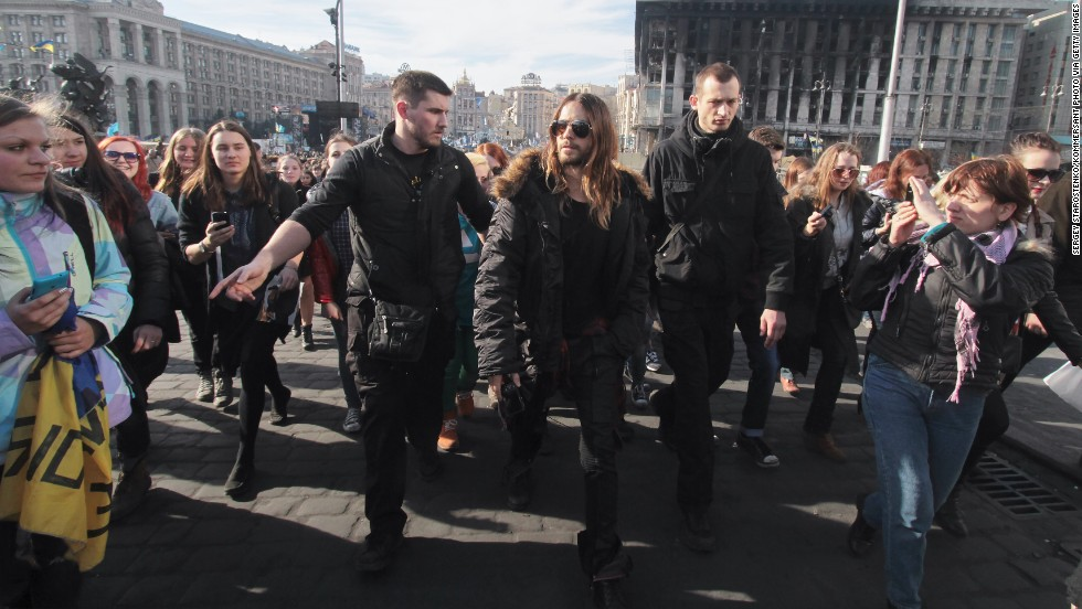 "Recent Academy Award winner Jared Leto walks through Independence Square in Kiev on March 13. During his Oscars acceptance speech in early March, the actor spoke to protesters in Ukraine and Venezuela saying, ""We're thinking of you tonight."""