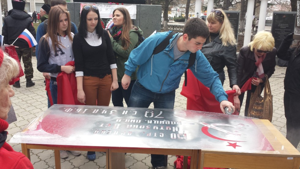 "SIMFEROPOL, UKRAINE:  ""Pro-Soviet flags being made and handed out in Simferopol on March 14."" - CNN's Michael Holmes.  Follow Michael on Instagram at <a href=""http://instagram.com/holmescnn"" target=""_blank"">instagram.com/holmescnn</a>."