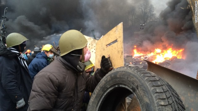 KIEV, UKRAINE:  Anti-government protesters clash with riot police in central Kiev on February 20.  Photo by CNN's Todd Baxter.