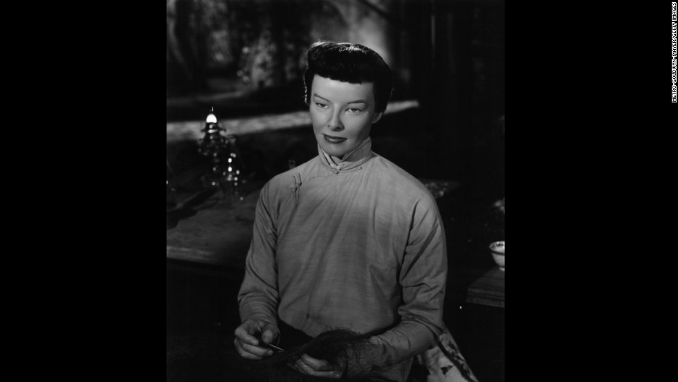 "Katharine Hepburn plays an Asian woman, Jade Tan, in the 1944 film ""Dragon Seed."""