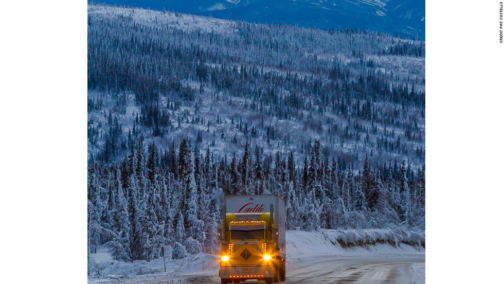 "The Dalton Highway, aka the Haul Road, is the supply route for the Prudhoe Bay oil fields to the north. Open to passenger vehicles, but clearly the domain of the big rigs, this road is only for the intrepid, well-prepared traveler. The 414-mile ""highway"" crosses the Yukon River, Arctic Circle and Brooks Range and passes through only two towns: Coldfoot (pop. 13) and Wiseman (pop. 22)."