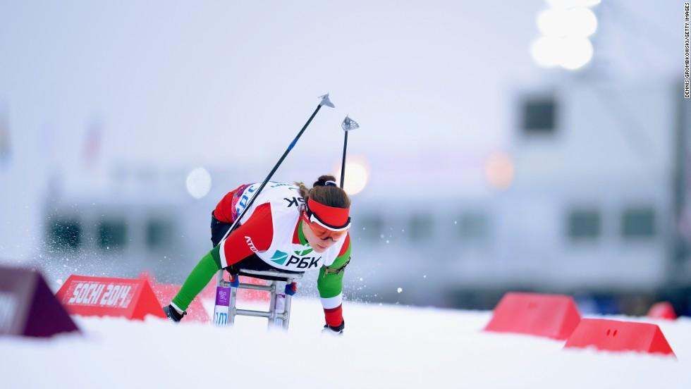 Lidziya Hrafeyeva of Belarus competes in the women's sitting biathlon on March 14.