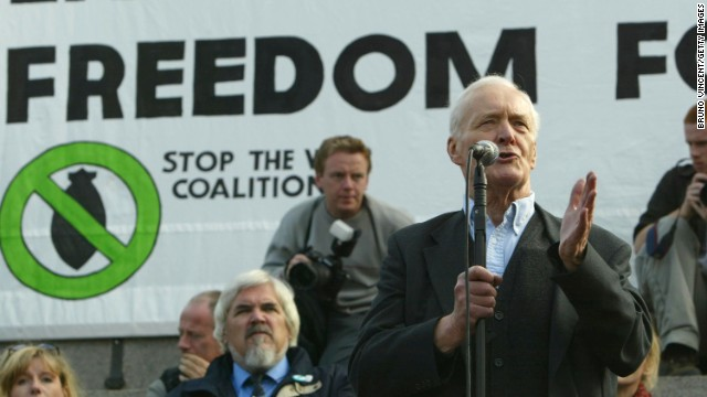 Tony Benn speaks to protesters at an anti-war march in September 2003 in London.