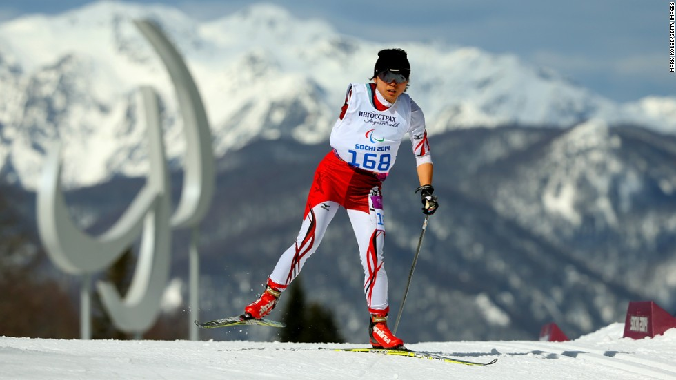 Momoko Dekijima of Japan competes in the women's cross-country 5-kilometer free standing event on Sunday, March 16, on Day Nine of the Sochi 2014 Paralympic Winter Games in Sochi, Russia. The Paralympics are being held in the same venues as the recently completed Winter Olympic Games.