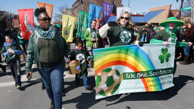 A group standing for diversity marches in the annual St. Patrick's Day parade in the South Boston neighborhood of Boston, Sunday, March 16, 2014.