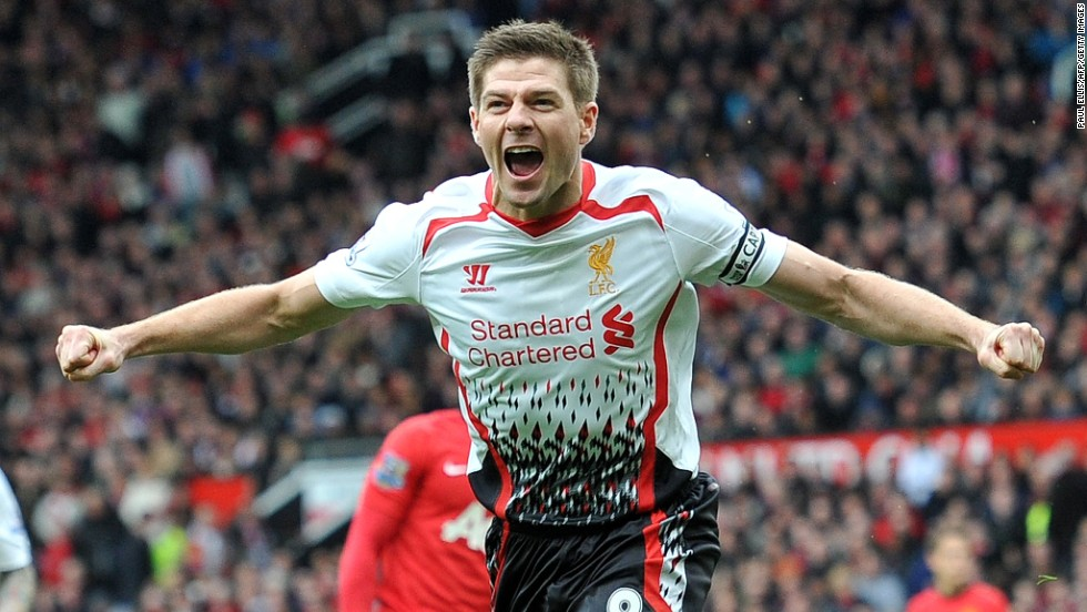 "Liverpool midfielder Steven Gerrard celebrates after scoring his team's second goal against Manchester United on Sunday, March 16, in Manchester, England. <a href=""http://www.cnn.com/2014/03/11/worldsport/gallery/what-a-shot-0311/index.html"">See 32 amazing sports photos from last week.</a>"
