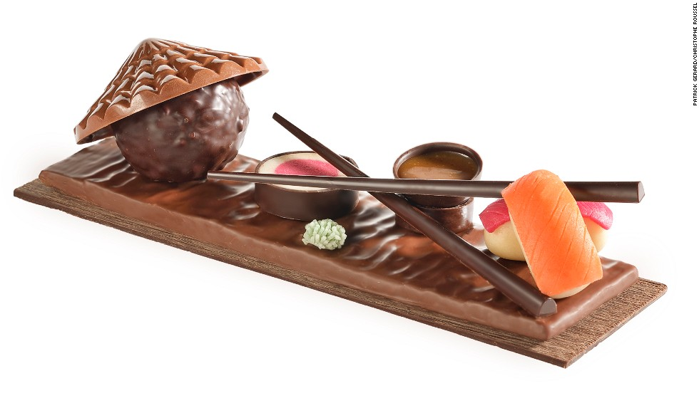 "Taking inspiration from the Land of the Rising Sun, <a href=""http://www.christophe-roussel.fr/"" target=""_blank"">Christophe Roussel</a>  has created a sushi plate made entirely of chocolate, chocolate paste, marzipan and nougat. Chop sticks allow choc-o-holics to dip their colorful maki and sushi in salted butter caramel."